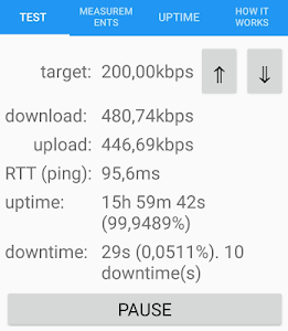 screenshot of Continuous Speed Test version 2019.06.18.1
