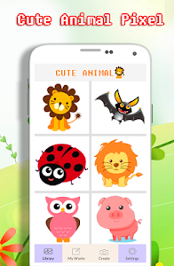 screenshot of Cute Animal Coloring Book - Color By Number version 2.0