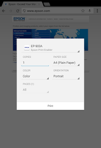 screenshot of Epson Print Enabler version 1.0.9