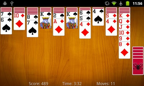 screenshot of Spider Solitaire version 3.1.0