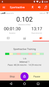 screenshot of Sportractive GPS Running Cycling Distance Tracker version 2.4.2