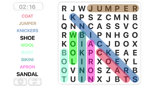 screenshot of Word Search Games in english version 9.4